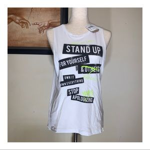 """Reebok """"Stop Apologizing"""" graphic muscle tank"""